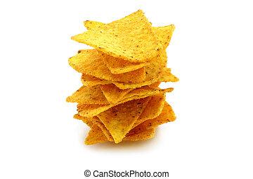 mexikanisch, nachos, weiß, hintergrund