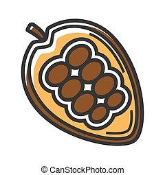 mexikanisch, reif, freigestellt, abbildung, kakaobohnen, ...