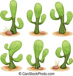 mexikanisch, satz, kaktus