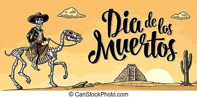 mexikanisch, skelett, national, kostüme, reiter, horse., galoppieren