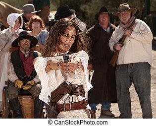 mexikanisch, weibliche , revolverheld