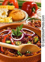 mexikansk, chili, bønner