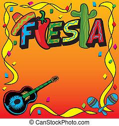 mexikansk, fiesta, gilde, invitation