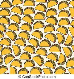 mexikansk mat, mönster, -, bakgrund, taco