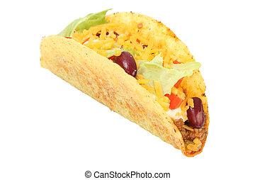 mexikansk, taco, isoleret, hen, hvid baggrund