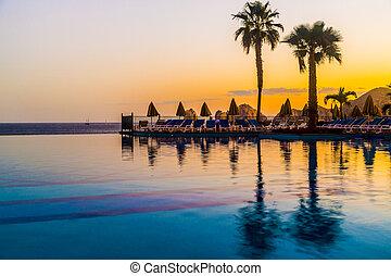 mexiko, cluburlaub, luxus, poolside, sandstrand, ansicht