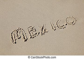 mexiko, geschrieben, sand, an, der, strand., mexico's,...