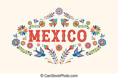 mexiko, grafické pozadí, prapor, s, barvitý, mexičan, květiny, ptáci, a, základy