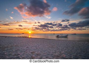 mexiko, mujeres, tropische , sonnenuntergang, isla, sandstrand