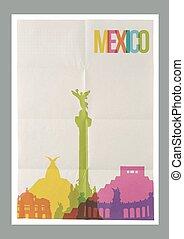 mexiko, weinlese, reise, skyline, plakat, wahrzeichen