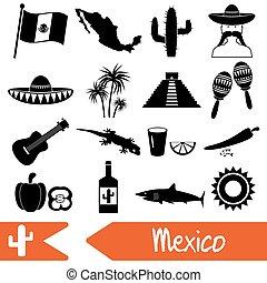 mexiko, země, námět, symbol, ikona, dát, eps10