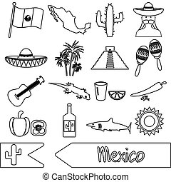 mexiko, země, námět, symbol, nárys, ikona, dát, eps10