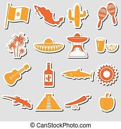mexiko, země, námět, symbol, prasečkář, dát, eps10