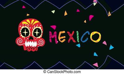 mexique, célébration, animation, confetti, lettrage, crâne
