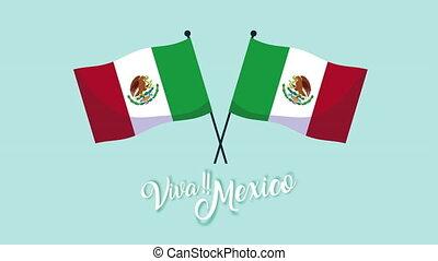 mexique, célébration, animation, drapeaux, mexicain