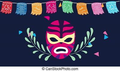 mexique, célébration, animation, luchador, guirlandes, ...
