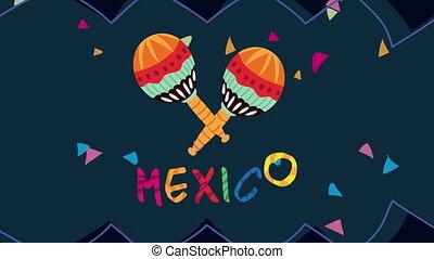 mexique, célébration, animation, maracas, lettrage
