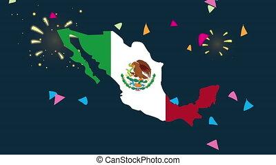 mexique, célébration, animation, mexicain, carte, drapeau
