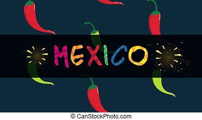 mexique, célébration, animation, poivres piment, lettrage