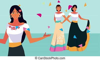mexique, célébration, danse, animation, mexicains, confetti...