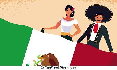 mexique, couple, célébration, animation, drapeau mexicain