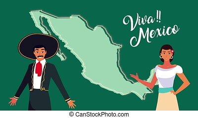 mexique, couple, célébration, animation, mexicain, carte