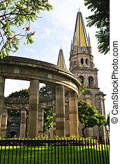 mexique, illustre, guadalajara, rotonde, cathédrale, jalisciences, jalisco