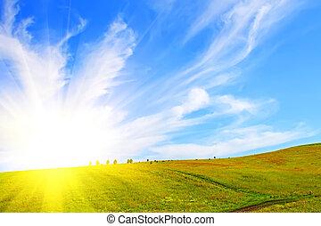 mező, és, ég