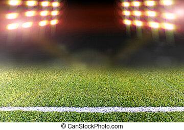 mező, fényes, futball, reflektorfény
