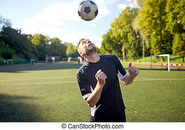 mező, focilabda, játék, játékos