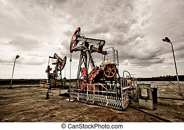 mező, pumpa, olaj