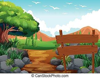 mező, színhely, dombok