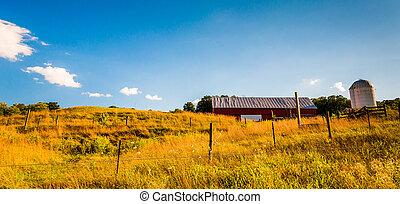 mező, virginia., völgy, shenandoah, tanya, bekerít, istálló