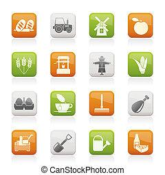 mezőgazdaság, és, gazdálkodás, ikonok