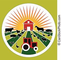 mezőgazdaság, címke, tanya, jel