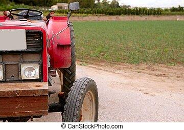 mezőgazdaság, idős, piros vontató, retro, szüret, gép