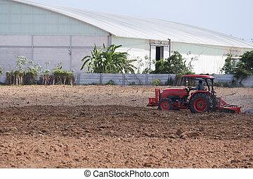 mezőgazdaság, tractor-landscape
