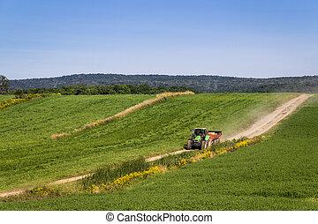 mezőgazdaság, traktor, gépezet