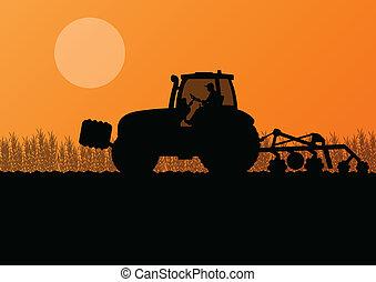 mezőgazdaság, traktor, gyakorló, a, vidék, alatt, művelt, ország, gabona, mező, táj, háttér, ábra, vektor