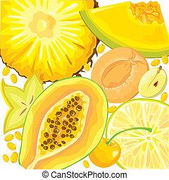 mezcla, amarillo, fruits, y, bayas
