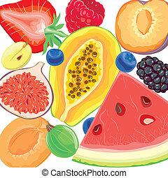 mezcla, bayas, y, frutas tropicales