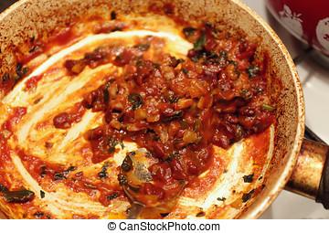 mezcla, carne de vaca, preparado, relleno,  Tortillas, recientemente, sabroso, picado,  Tacos, o, suelo