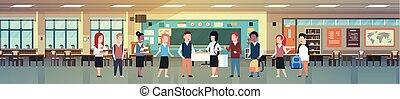 mezcla, carrera, grupo, de, colegiales, en, aula, interior, diverso, alumnos, en, moderno, habitación de clase, horizontal, bandera