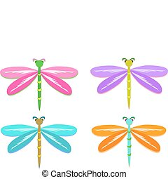 mezcla, colorido, libélulas