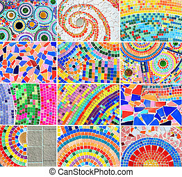 mezcla, colorido, mosaico, plano de fondo