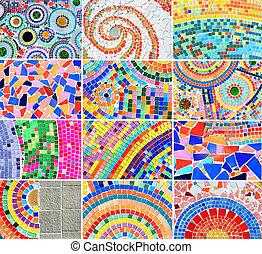 mezcla, colorido, plano de fondo, mosaico
