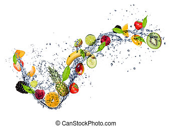 mezcla, de, fruta, en, agua, salpicadura, aislado, blanco,...