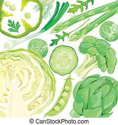 mezcla, de, verduras verdes