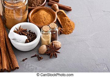 mezcla, especias, tarro, casero