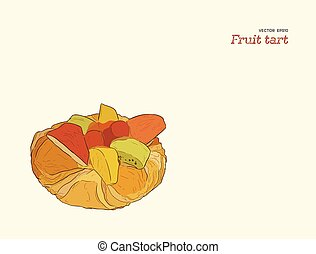 mezcla, fruta, pastel, vector., tarta